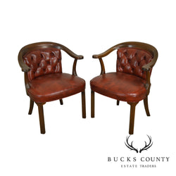 Kittinger Mahogany Tufted Leather Pair Library Armchairs