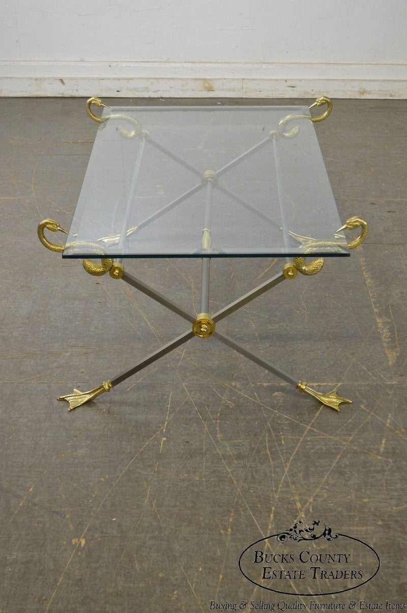LaBarge X Base Brass Brushed Steel Glass Top Coffee Table