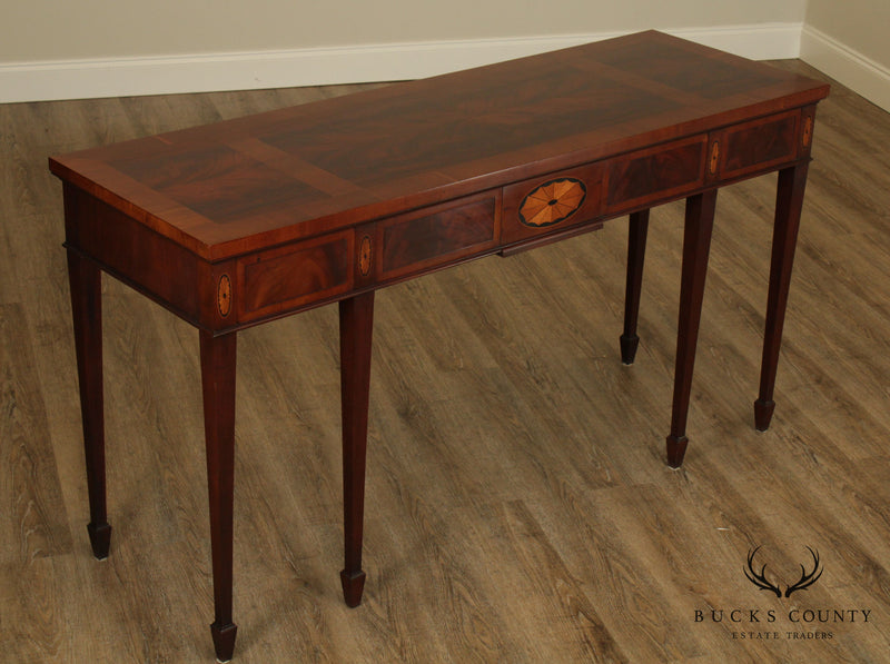 Hekman Federal Style Mahogany Yew Wood Inlaid Console Table