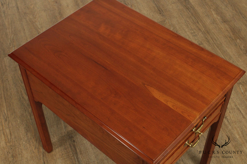 Stickley Traditional Solid Cherry 2 Drawer Side Table