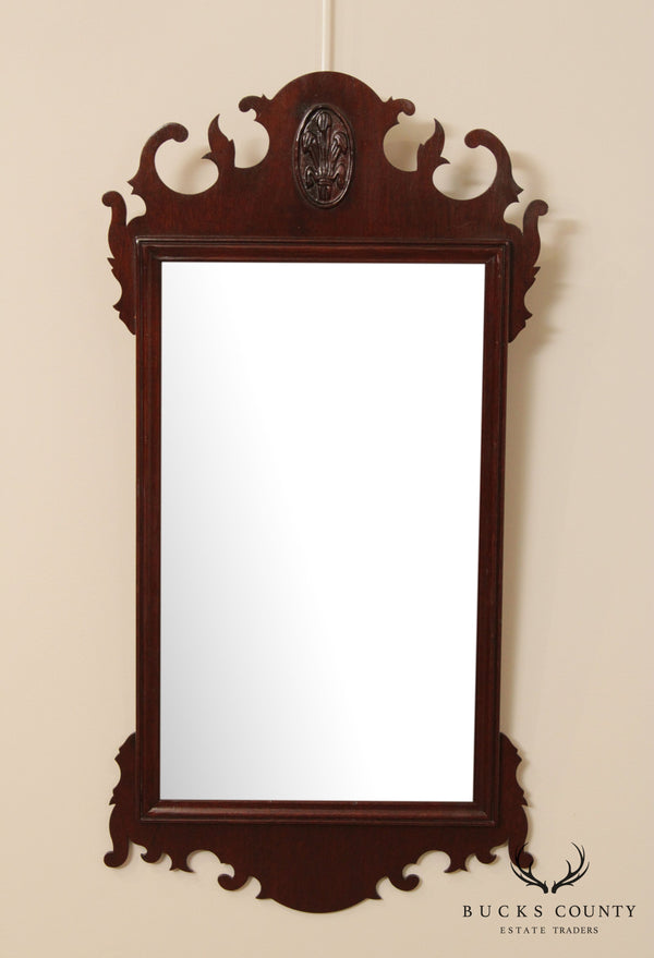 Chippendale Style Mahogany Frame Beveled Wall Mirror