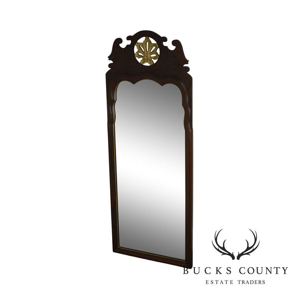 Georgian Style Quality Beveled Mirror Flame Mahogany Pierced Giltwood Carved Looking Glass