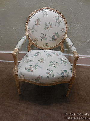 Quality French Louis XVI Wide Fauteuil Cameo Back Open Arm Chair