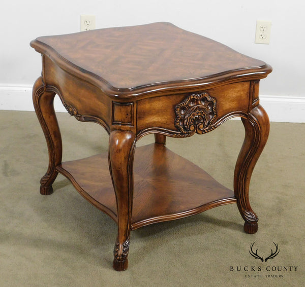 Schnadig Carved French Rococo Style One Drawer Side Table