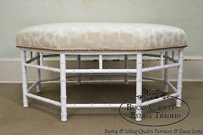 Hollywood Regency Large Faux Bamboo White Painted Octagon Ottoman
