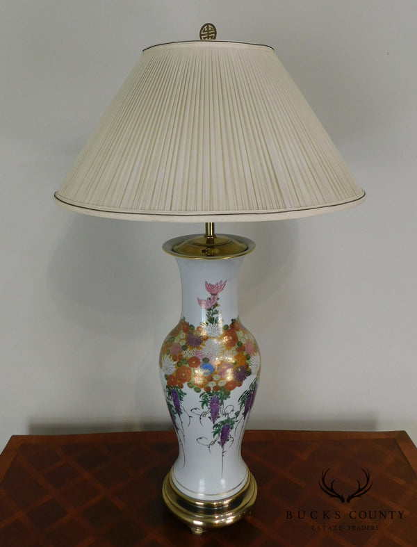 Quality Asian Style Floral Porcelain Table Lamp