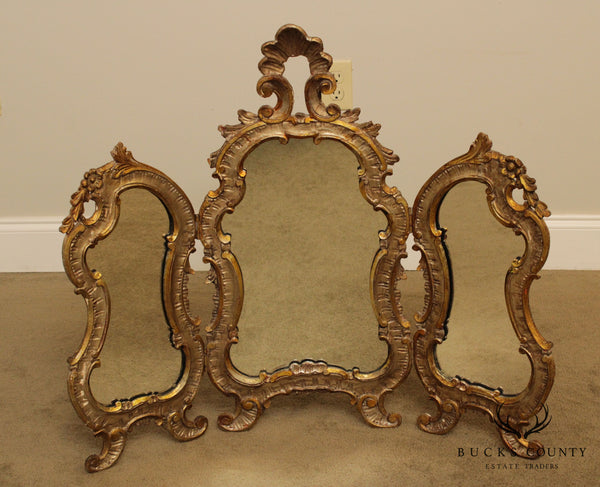 Vintage Italian Florentine Carved Tri-Fold Table Top Vanity Mirror