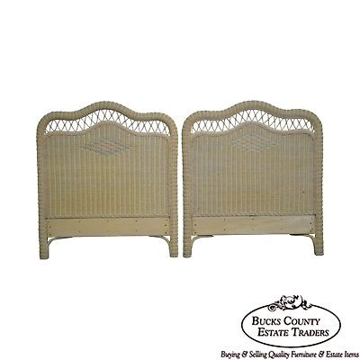 Lexington Henry Link Victorian Style Painted Wicker Pair of Twin Headboards