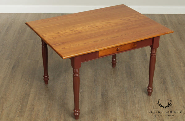 Carrier Furniture Co. Oak Farmhouse One Drawer Dining Table