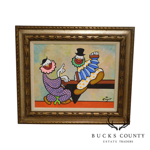 Xavier Cugat Framed Oil Painting of Clowns Playing Piano