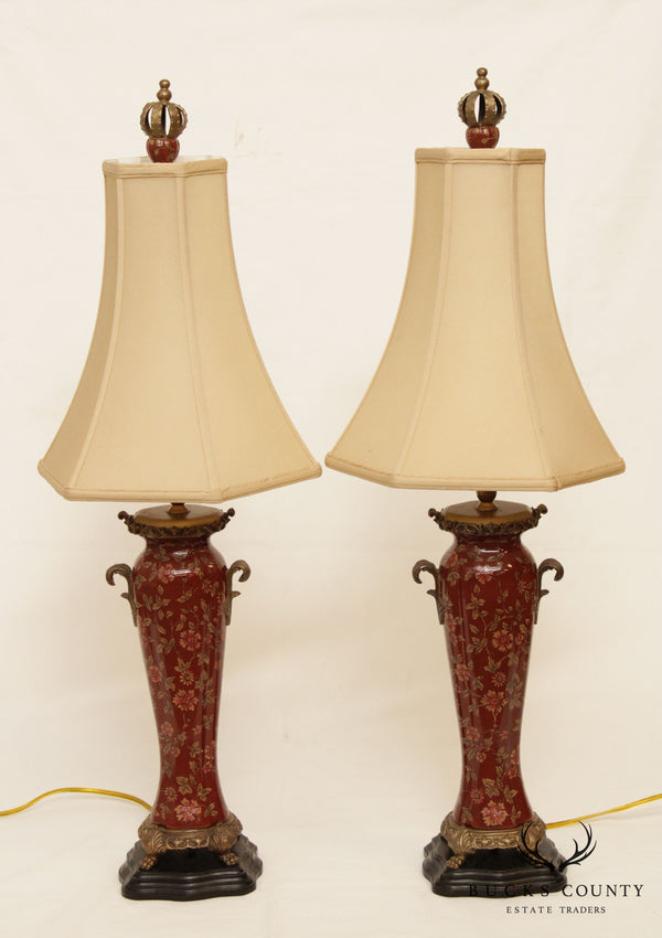 Castilian Pair Porcelain Table Lamps with Shades