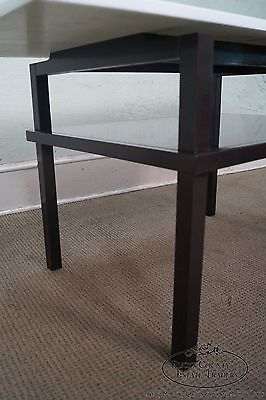 Unusual Mid Century Lacquer Base Console Table w/ Floating White Milk Glass Top