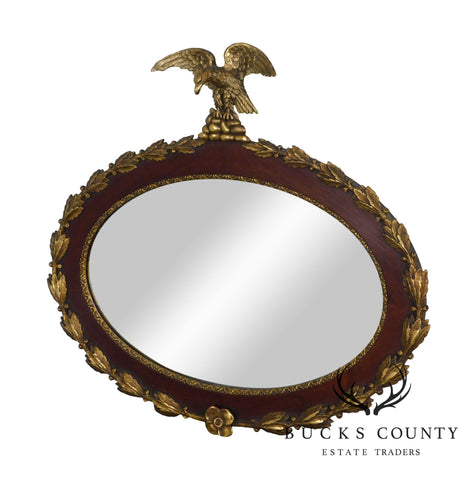 Antique Federal Style Mahogany and Gilt Eagle Carved Oval Wall Mirror