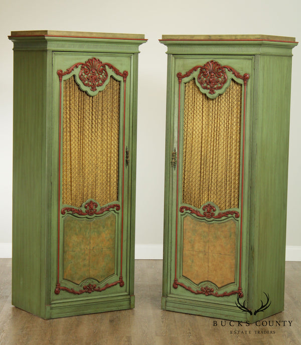 French Louis XV Style Pair of Green Painted Bedroom Cabinets Armoires