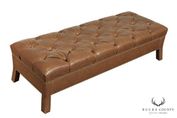Custom Quality Brown Leather Tufted Long Bench