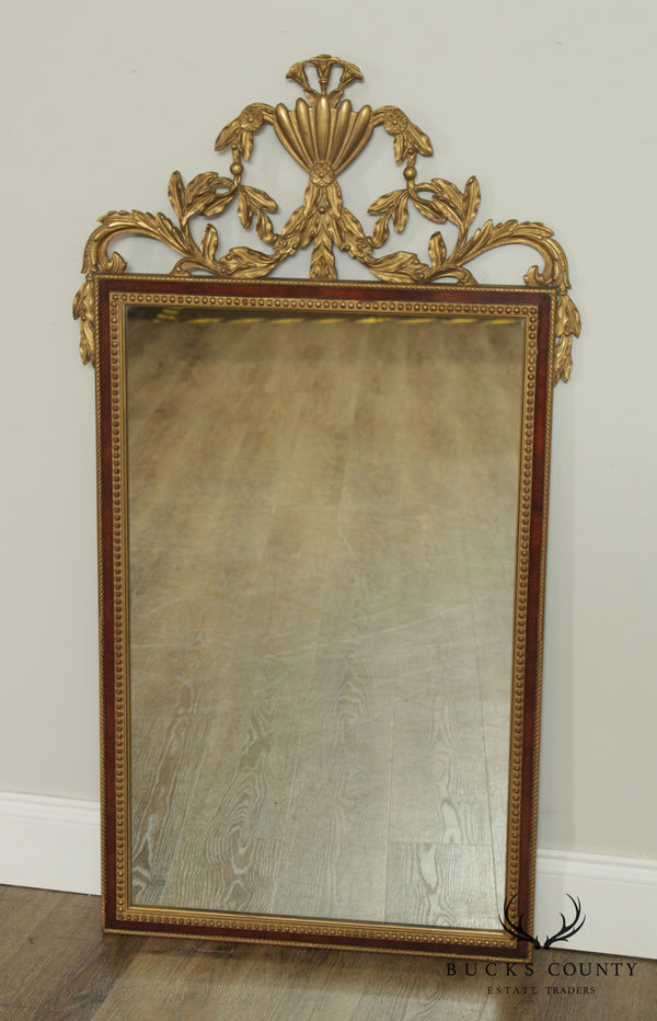 French Louis XV Style Vintage Gilt Carved Mahogany Wall Mirror