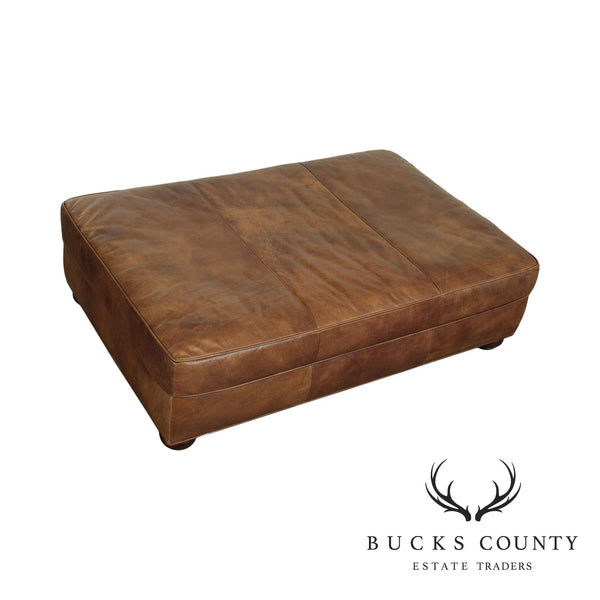 Restoration Hardware Large Distressed Brown Leather Ottoman