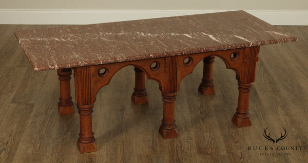 Gothic Style Antique Carved Chestnut Marble Top Coffee Table, Low Console
