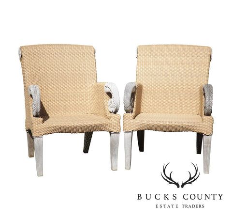 Brown Jordan Tommy Bahama Teak and Outdoor Wicker Pair Patio Armchairs (C)