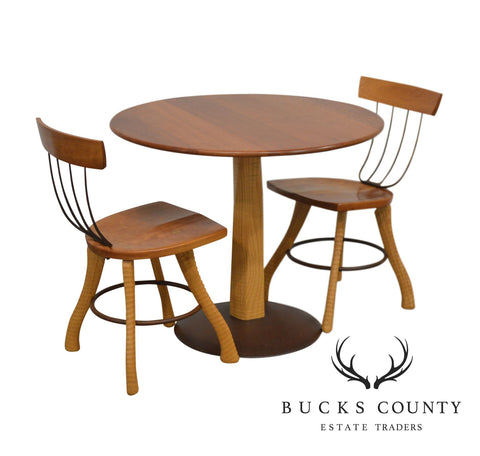 Bradford Wood Working Custom Cherry Ax Handle Pitchfork 3 Pc Round Table + Chair Dining Set