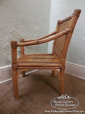 Vintage Set of 4 Heavy Genuine Bamboo Arm Chairs