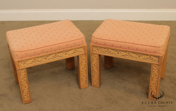 Hammary Oak Leaf and Acorn Fretwork Carved Pair Benches