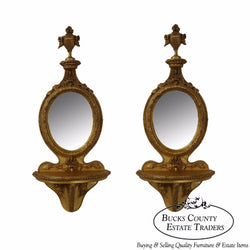 Quality Pair of French Louis XV Style Gilt Wall Shelves w/ Mirrors