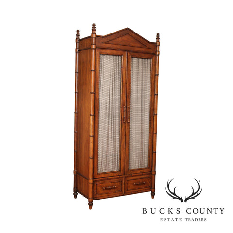 Century Faux Bamboo Bedroom Armoire Cabinet