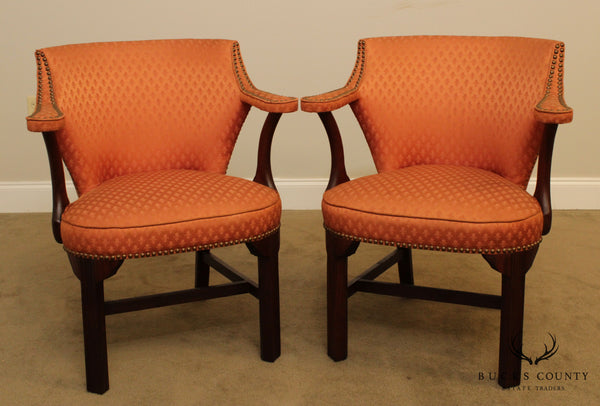 Lawsonia Vintage Chippendale Style Mahogany Pair Library Armchairs