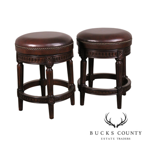 Louis XVI Style Pair Brown Leather Swivel Counter Stools