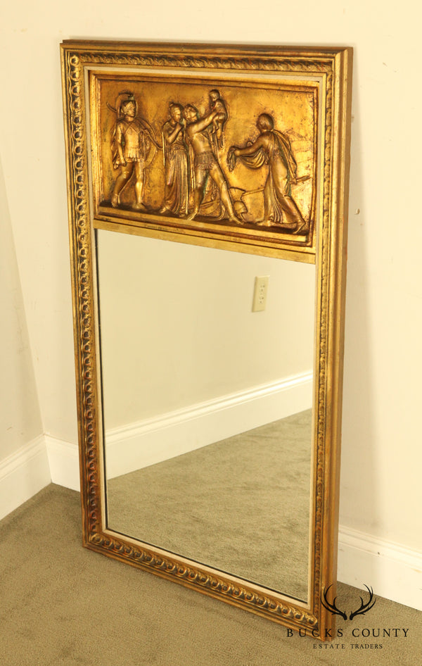 Neo-Classical Revival Vintage Gilt Frame Trumeau Mirror with Scenic Releaf Panel