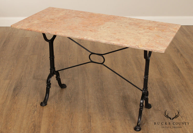 Antique Cast Iron Base Marble Top French Pastry Table