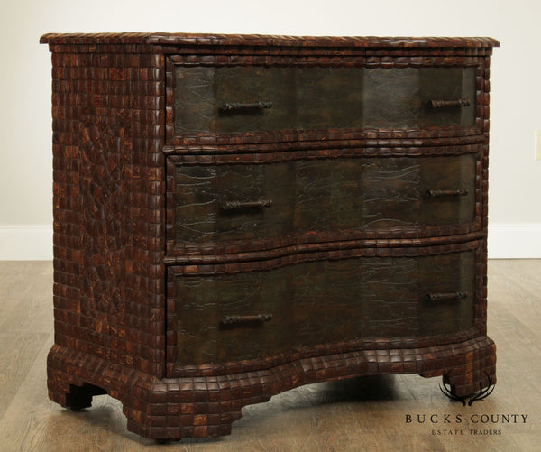 Maitland Smith Coconut & Etched Bronze 3 Drawer Chest, Commode