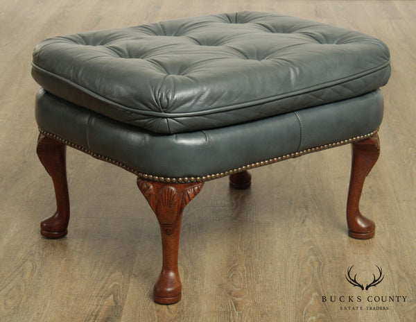 Classic Leather Queen Anne Style Blue Tufted Leather Ottoman
