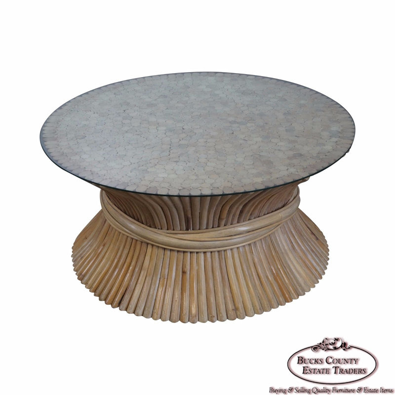 McGuire Style Rattan Wheat Sheaf Round Glass Top Coffee Table