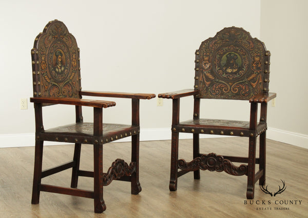 Spanish Renaissance Revival Antique Walnut & Embossed Leather Pair Armchairs