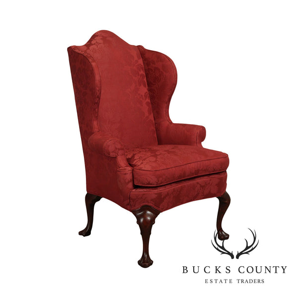 Hickory Chair Mahogany Queen Anne Red Damask Wing Chair