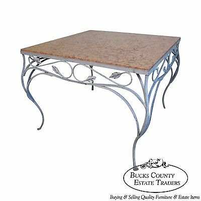 Salterini Square Ornate Iron Marble Top Patio Outdoor Dining Table