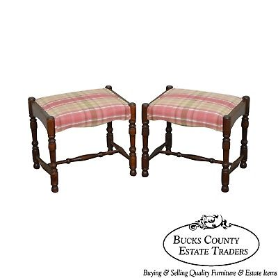 William & Mary Style Pair of Bobbin Turned Walnut Stools or Benches