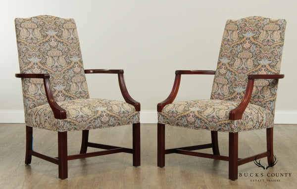 Southwood Chippendale Style Pair Mahogany Library Armchairs