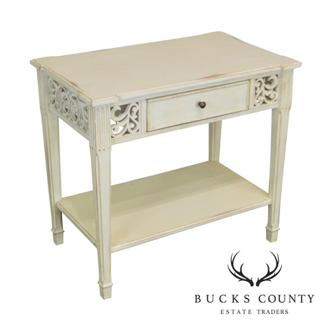 French Louis XVI Style White Distressed Painted One Drawer Side Table Nightstand