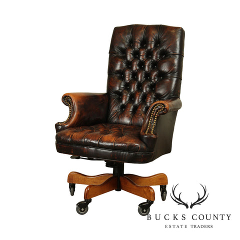 Distressed Tufted Leather Swivel Desk Chair