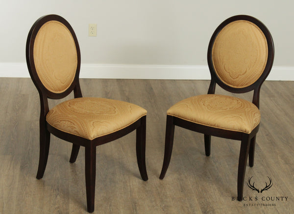 Ethan Allen Oval Back Pair Side Chairs