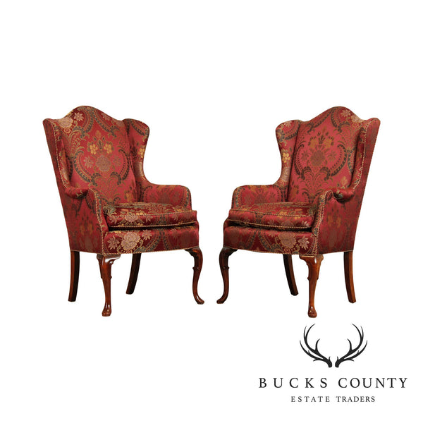 Queen Anne Style Quality Custom Upholstered Wingback Chairs