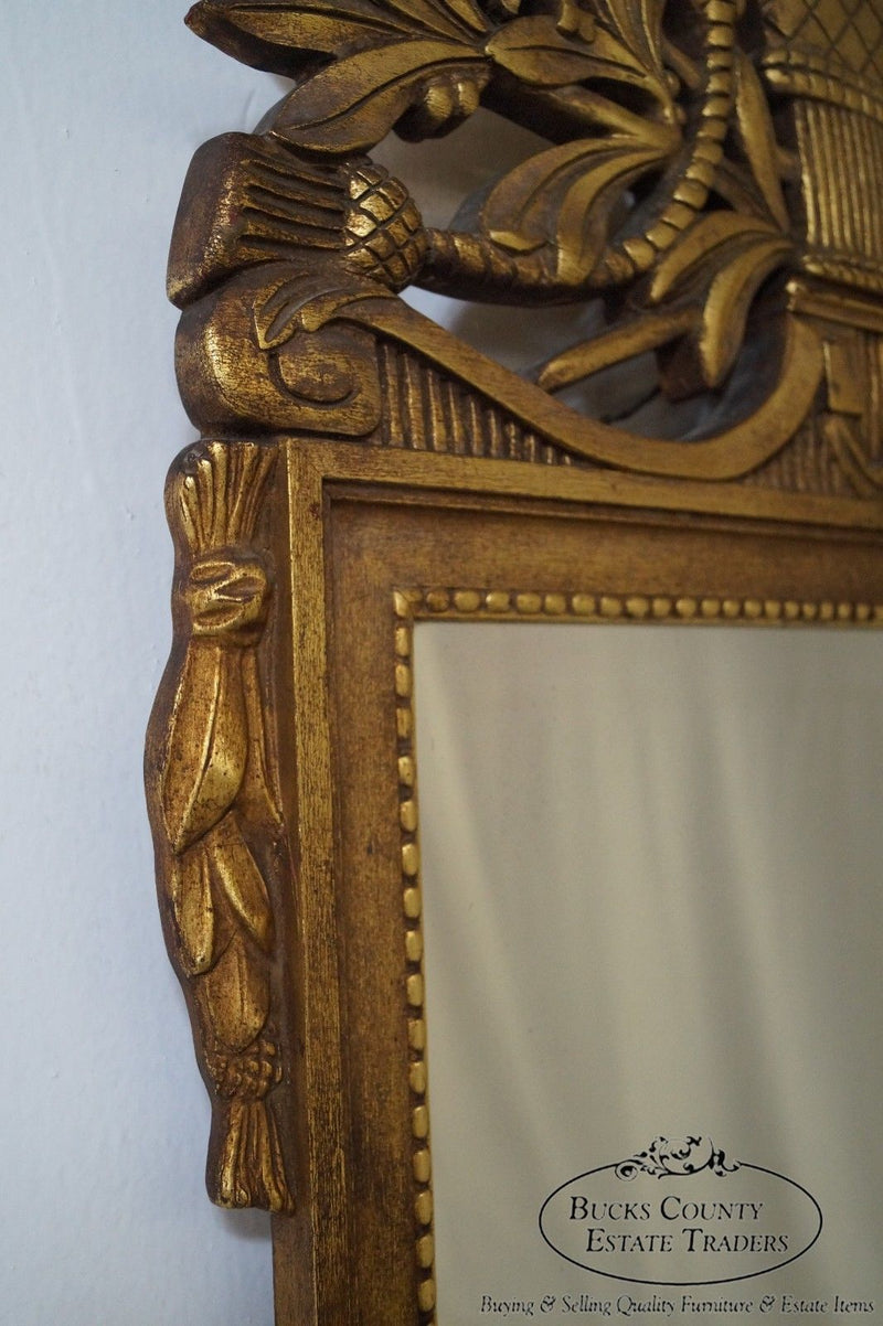 Vintage French Louis XV Style Carved Gilt Wood Gold Mirror