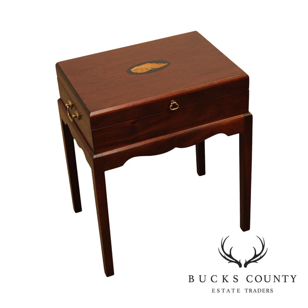 Madison Square Mahogany Inlaid Box on Stand Side Table
