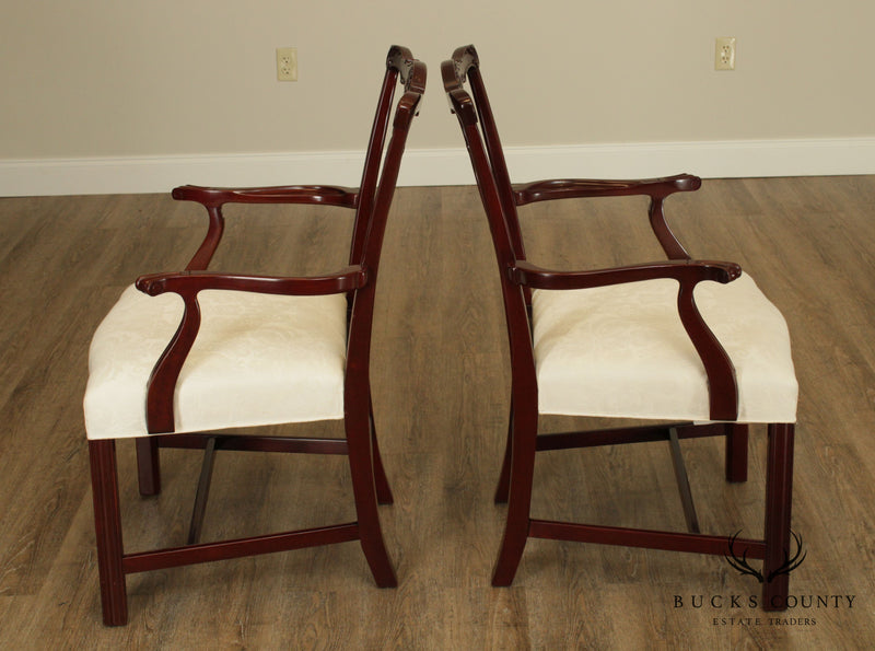 Kindel Chippendale Style Pair Mahogany Armchairs