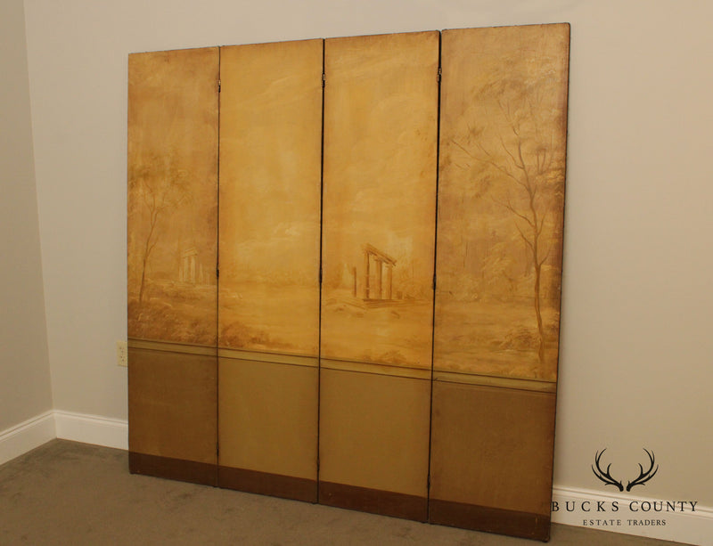 Greek Revival Antique Hand Painted 4 Panel Folding Screen, Room Divider