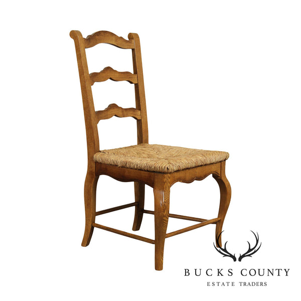 French Country Style Oak Rush Seat Ladder Back Side Chair