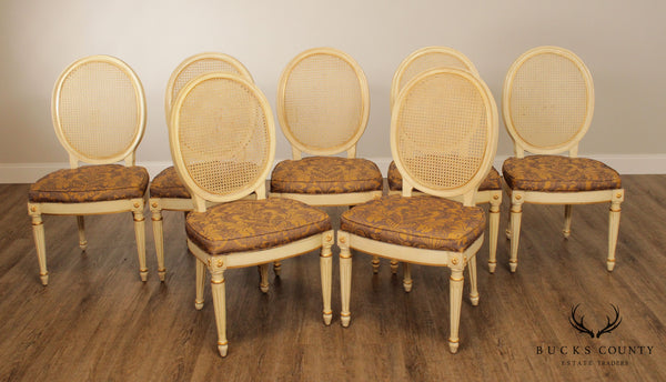 Custom Quality French Louis XVI Style Set 7 Cane Back Dining Chairs